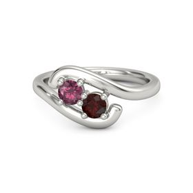 Platinum Ring with Rhodolite Garnet & Red Garnet