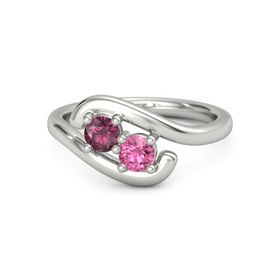 Platinum Ring with Rhodolite Garnet and Pink Tourmaline