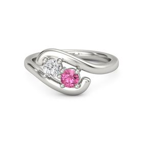 Platinum Ring with White Sapphire and Pink Tourmaline