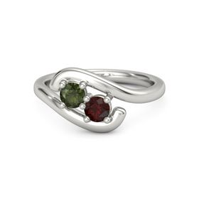 Platinum Ring with Green Tourmaline & Red Garnet