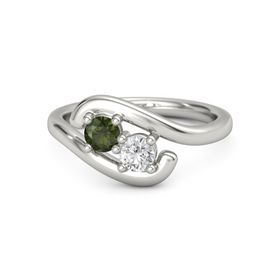 Platinum Ring with Green Tourmaline & White Sapphire