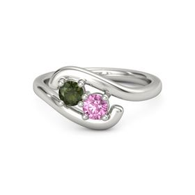 Platinum Ring with Green Tourmaline and Pink Sapphire