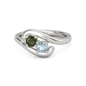 Platinum Ring with Green Tourmaline and Aquamarine