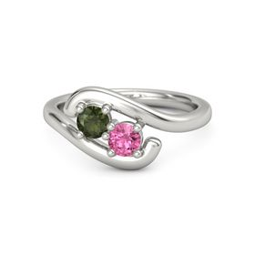 Platinum Ring with Green Tourmaline and Pink Tourmaline