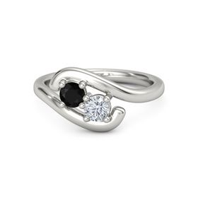 Platinum Ring with Black Onyx and Diamond