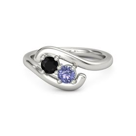Platinum Ring with Black Onyx & Tanzanite