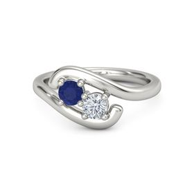 Platinum Ring with Sapphire & Diamond