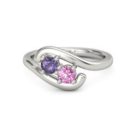 Platinum Ring with Iolite and Pink Sapphire