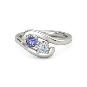Platinum Ring with Tanzanite & Diamond