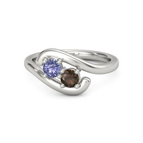 Platinum Ring with Tanzanite & Smoky Quartz