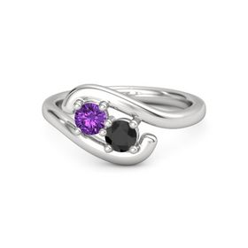Sterling Silver Ring with Amethyst and Black Diamond