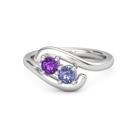 Sterling Silver Ring with Amethyst & Tanzanite