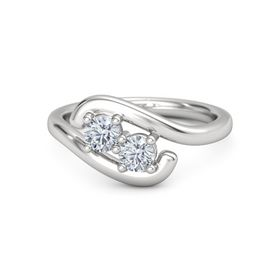 Sterling Silver Ring with Diamond and Moissanite
