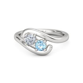 Sterling Silver Ring with Diamond & Blue Topaz