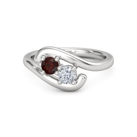 Sterling Silver Ring with Red Garnet and Moissanite