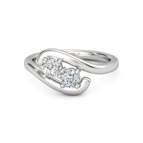Sterling Silver Ring with White Sapphire & Diamond