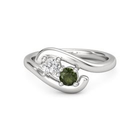 Sterling Silver Ring with White Sapphire & Green Tourmaline