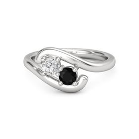 Sterling Silver Ring with White Sapphire & Black Onyx