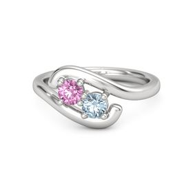 Sterling Silver Ring with Pink Sapphire & Aquamarine