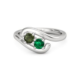 Sterling Silver Ring with Green Tourmaline & Emerald