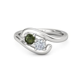 Sterling Silver Ring with Green Tourmaline and Moissanite