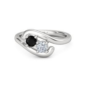 Sterling Silver Ring with Black Onyx and Moissanite