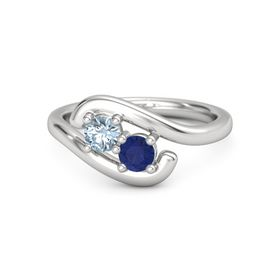 Sterling Silver Ring with Aquamarine & Sapphire