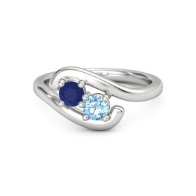 Sterling Silver Ring with Sapphire & Blue Topaz
