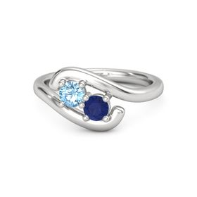 Sterling Silver Ring with Blue Topaz & Sapphire