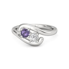 Sterling Silver Ring with Iolite and White Sapphire