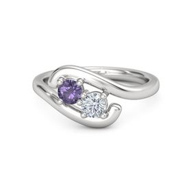 Sterling Silver Ring with Iolite and Moissanite