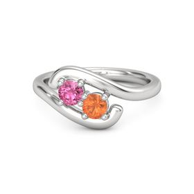 Sterling Silver Ring with Pink Tourmaline and Fire Opal