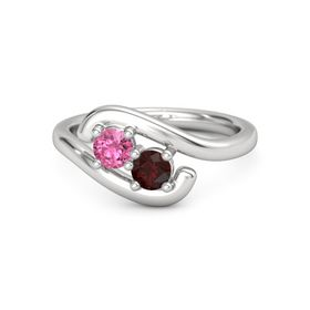Sterling Silver Ring with Pink Tourmaline & Red Garnet