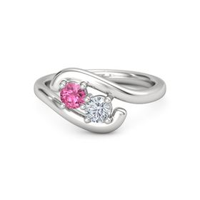 Sterling Silver Ring with Pink Tourmaline and Moissanite