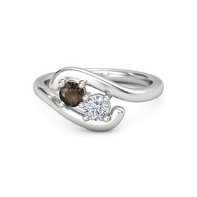 Sterling Silver Ring with Smoky Quartz and Moissanite