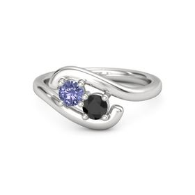 Sterling Silver Ring with Tanzanite & Black Diamond