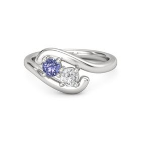 Sterling Silver Ring with Tanzanite and White Sapphire