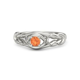 Round Fire Opal Palladium Ring