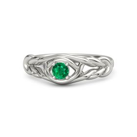 Round Emerald Platinum Ring