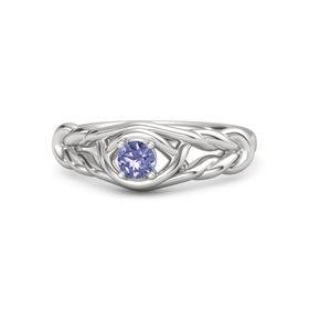 Round Tanzanite Sterling Silver Ring