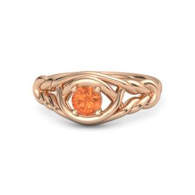 Round Fire Opal 14K Rose Gold Ring