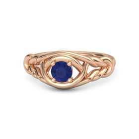 Round Blue Sapphire 18K Rose Gold Ring
