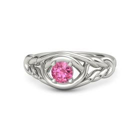 Round Pink Tourmaline Palladium Ring