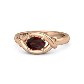 Oval Red Garnet 14K Rose Gold Ring