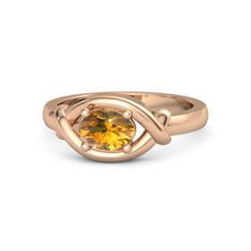 Oval Citrine 14K Rose Gold Ring