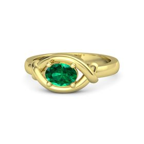 Oval Emerald 14K Yellow Gold Ring