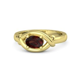 Oval Red Garnet 14K Yellow Gold Ring