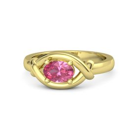 Oval Pink Tourmaline 14K Yellow Gold Ring