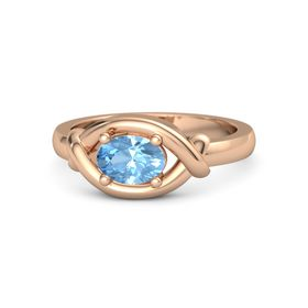 Oval Blue Topaz 18K Rose Gold Ring