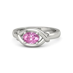 Oval Pink Sapphire 18K White Gold Ring